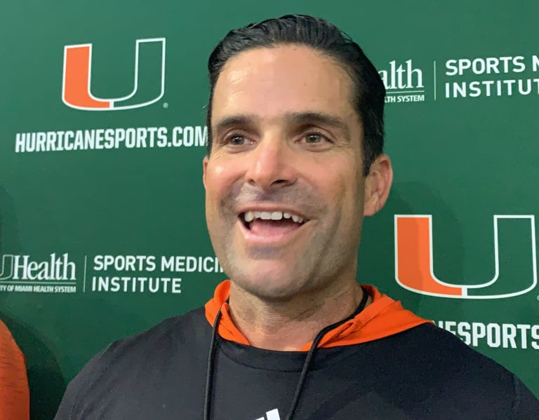 """CaneSport - Manny Diaz at Paradise ... coach says he wants to see """"who competes"""""""
